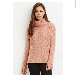 Chunky Cable Knit Turtle Neck Sweater M